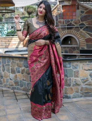 Black and peach saree in banarasi silk