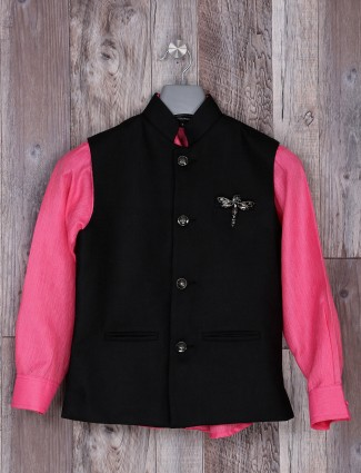 Black and pink hue cotton jute waistcoat