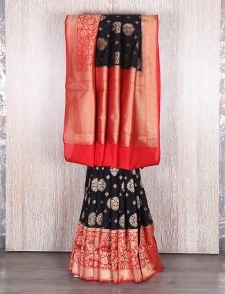 Black and red bhagalpuri silk saree