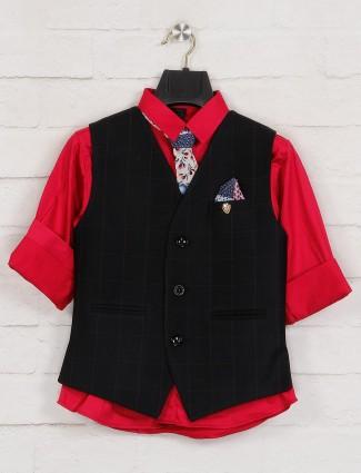 Black and red checks waistcoat shirt