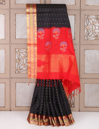 Black and red color party wear saree