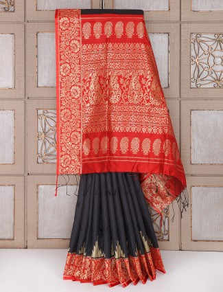 Black and red color semi silk fabric saree