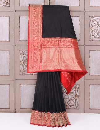 Black and red color silk saree for party