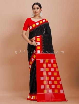 Black and red pure mul cotton contrast patli pallu checks printed saree