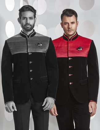 Black and red textured jodhpuri suit