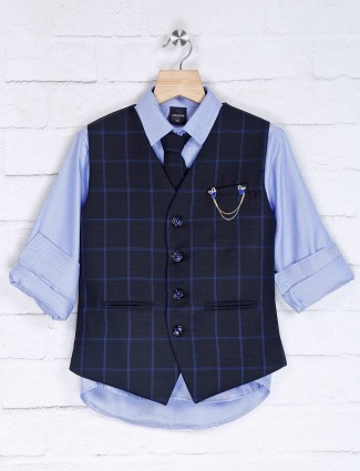 Black and sky blue cotton silk party waistcoat set