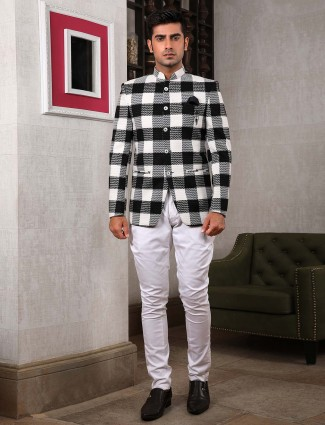 Black and white checks pattern jodhpuri suit