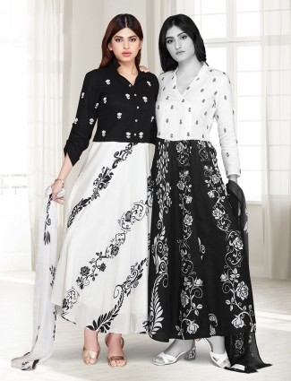 Black and white cotton silk printed anarkali suit