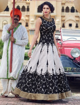 Black and white silk anarkali suit