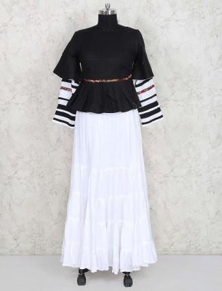 Black and white solid cotton lehenga choli