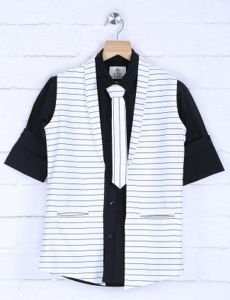Black and white stripe party wear waistcoat shirt
