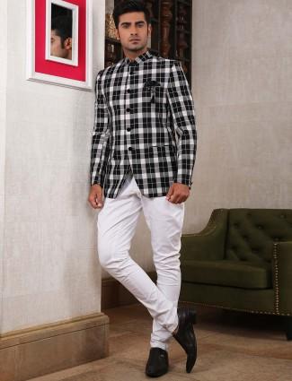 Black and white tweed pattern jodhpuri suit