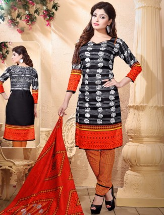 Black attractive printed causal wear cotton ready made salwar suit