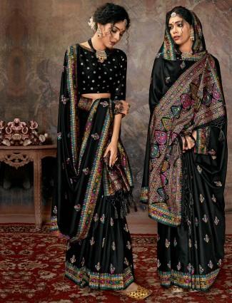 Black banarasi silk for wedding function with thread weaving