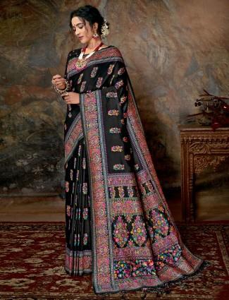 Black banarasi silk for wedding in thread weaving
