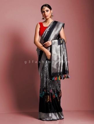 Black pure handloom banarasi silk party function saree