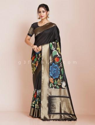 Black banarasi silk party function saree