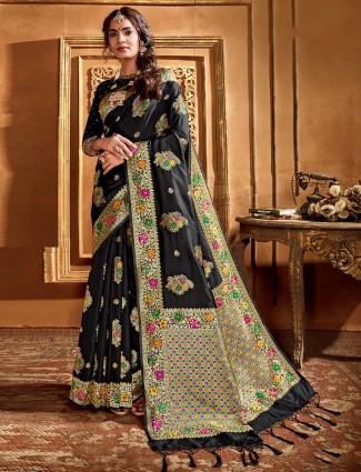 Black banarasi silk saree for festival