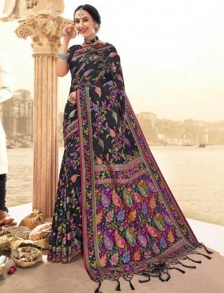 Black banarasi silk saree for wedding days