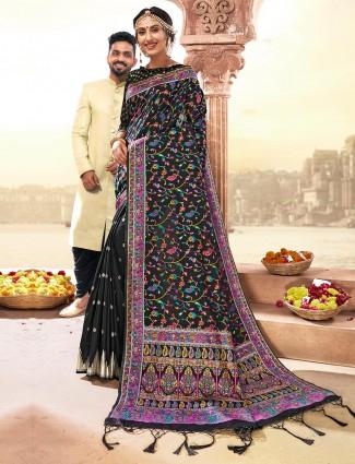 Black banarasi silk saree for wedding with zari and thread weaving