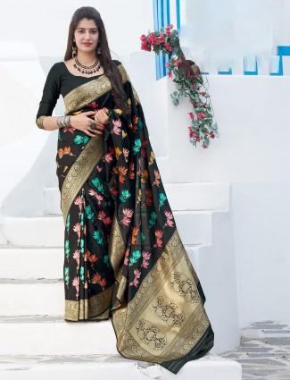 Black banarasi silk saree in wedding function