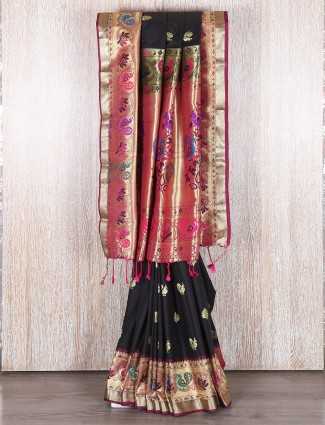 Black bangalore silk party wear saree