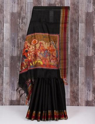 Black bhagalpuri silk great saree