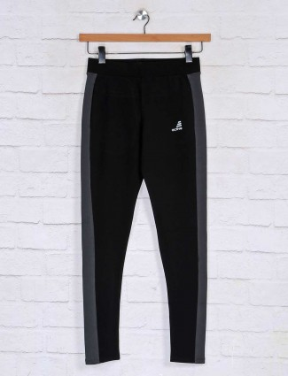 Black casual track pant in cotton