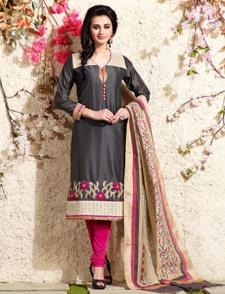 Black chanderi silk festive salwar suit