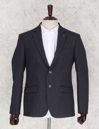 Black checks blazer for party wear