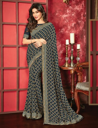 Black checks print saree in georgette