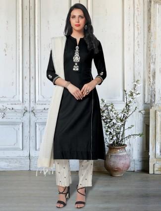 Black chinese neck punjabi pant salwar suit