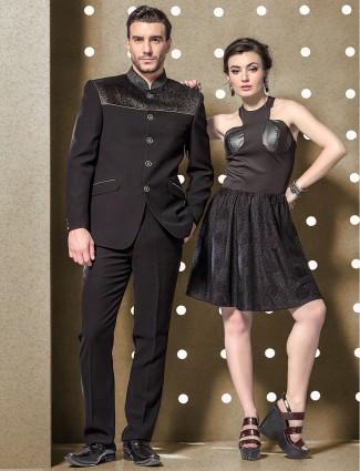 Black classic terry rayon jodhpuri suit