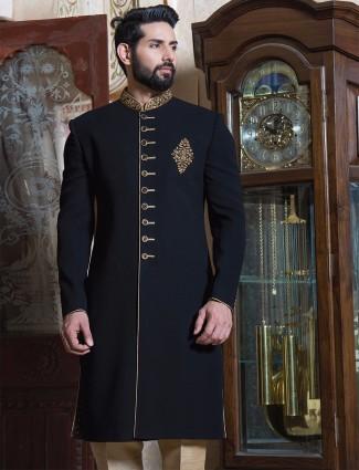 Black classy terry rayon sherwani