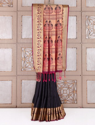 Black classy wedidng wear saree