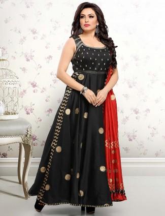 Black color anarkali salwar suit in cotton silk