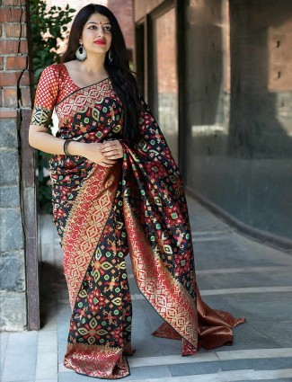 Black color banarasi patola silk saree