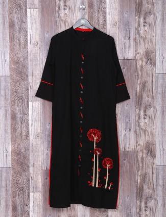 Black color cotton fabric casual kurti