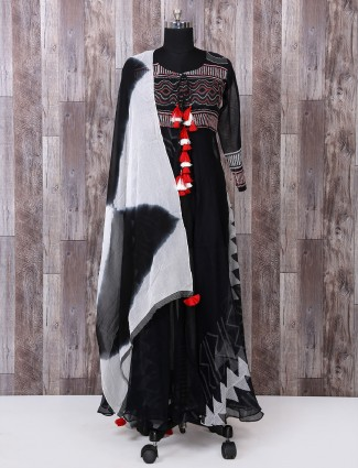 Black color cotton palazzo suit