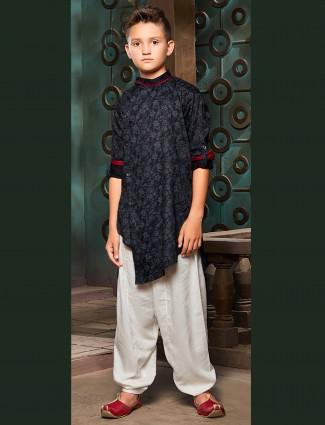Black color cotton printed pathani suit