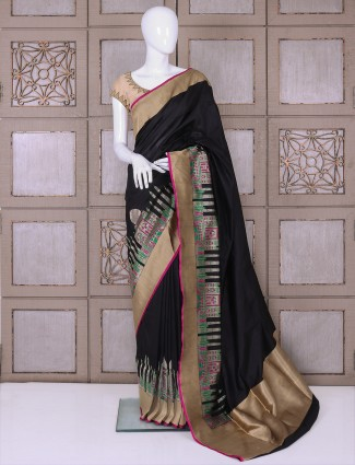 Black color designer banarasi silk saree