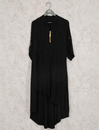 Black color designer cotton festive kurti set