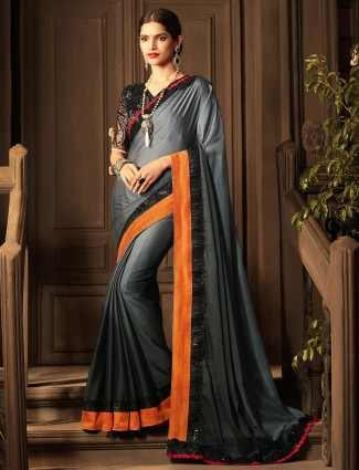 Black color designer saree
