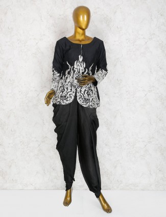 Black color dhoti suit in raw silk