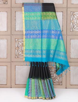 Black color festive saree in silk fabric