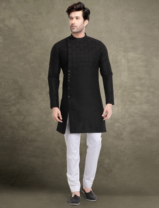 Black color full sleeves festive wear kurta suit
