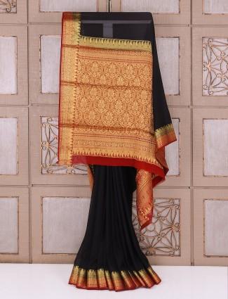 Black color georgette fabric saree