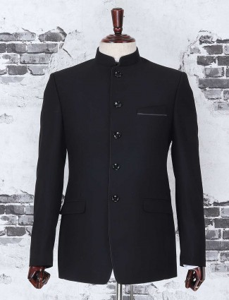 Black color jodhpuri solid suit