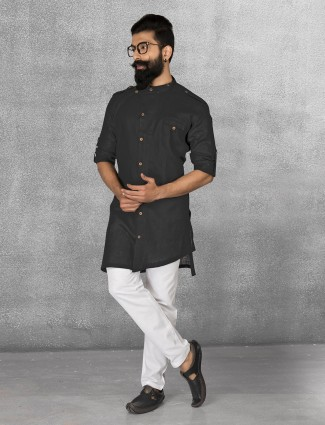 Black color linen kurta suit