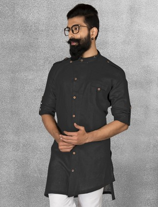 Black color linen short pathani